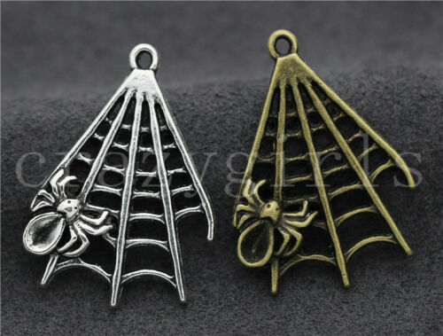5//20//100pcs Tibetan Silver Exquisite Two-Sided Cobweb Charms Pendant DIY 32x23mm