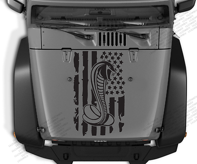 Fits Jeep wrangler SF2 Distressed USA Snake flag Hood vinyl sticker decal