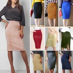 6686816810 Sexy Women's Suede Elastic High Waist Pencil Midi Skirt / Casual To ...