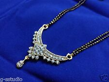 22k gold plated meena enamel flower mangalsutra with balck beads double  chian
