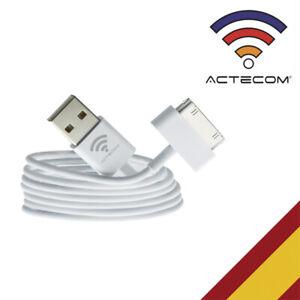 ACTECOM® CABLE USB CARGADOR Y DATOS PARA IPHONE 4 4S 3G 3GS  IPAD 3-2 IPOD NANO