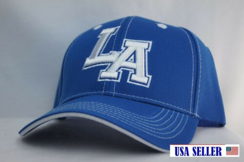 NWT LOS ANGELES BOLD INITIAL/'S CONTRAST COLOR BASEBALL CAP WITH BLUE /& WHITE