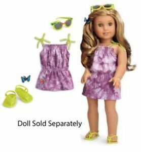 American-Girl-2016-Doll-Of-Year-Lea-039-s-Beach-Dress-Sandals-Sunglasses-Set-Outfit