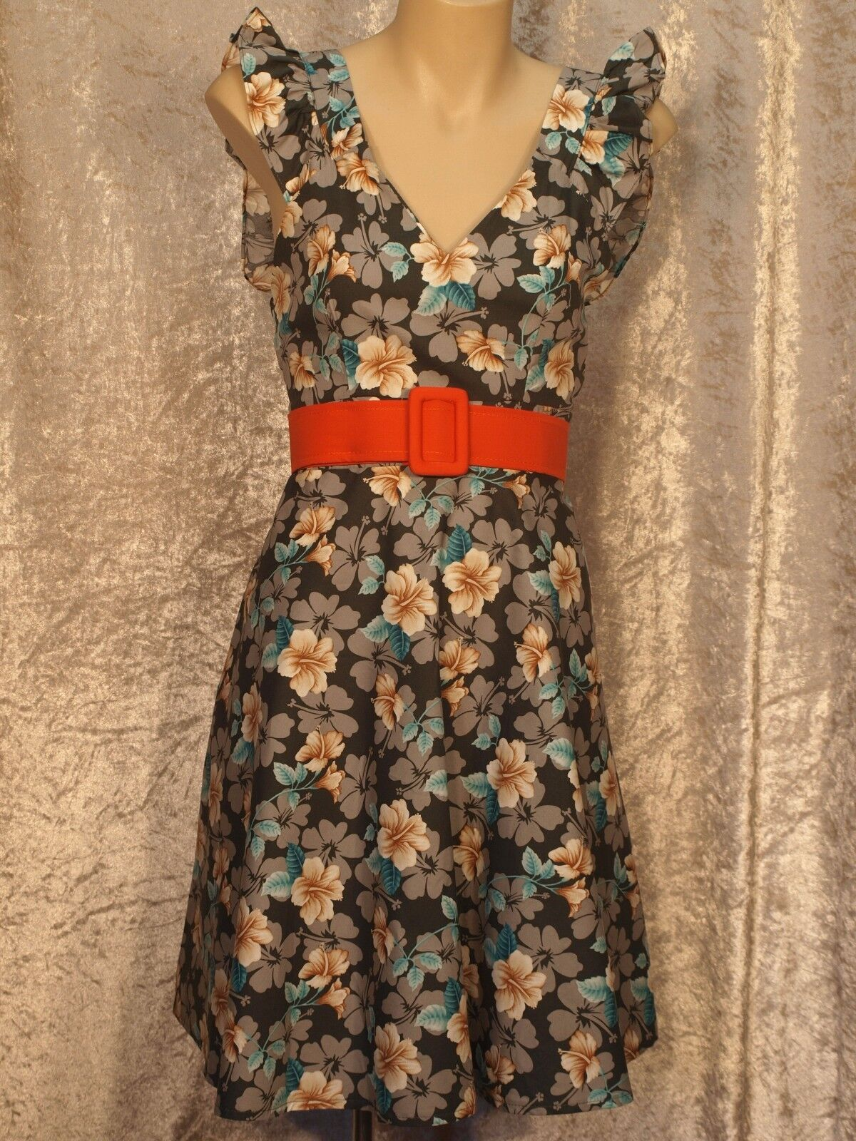 1950 Summer Cotton Dress with floral pattern frilly straps