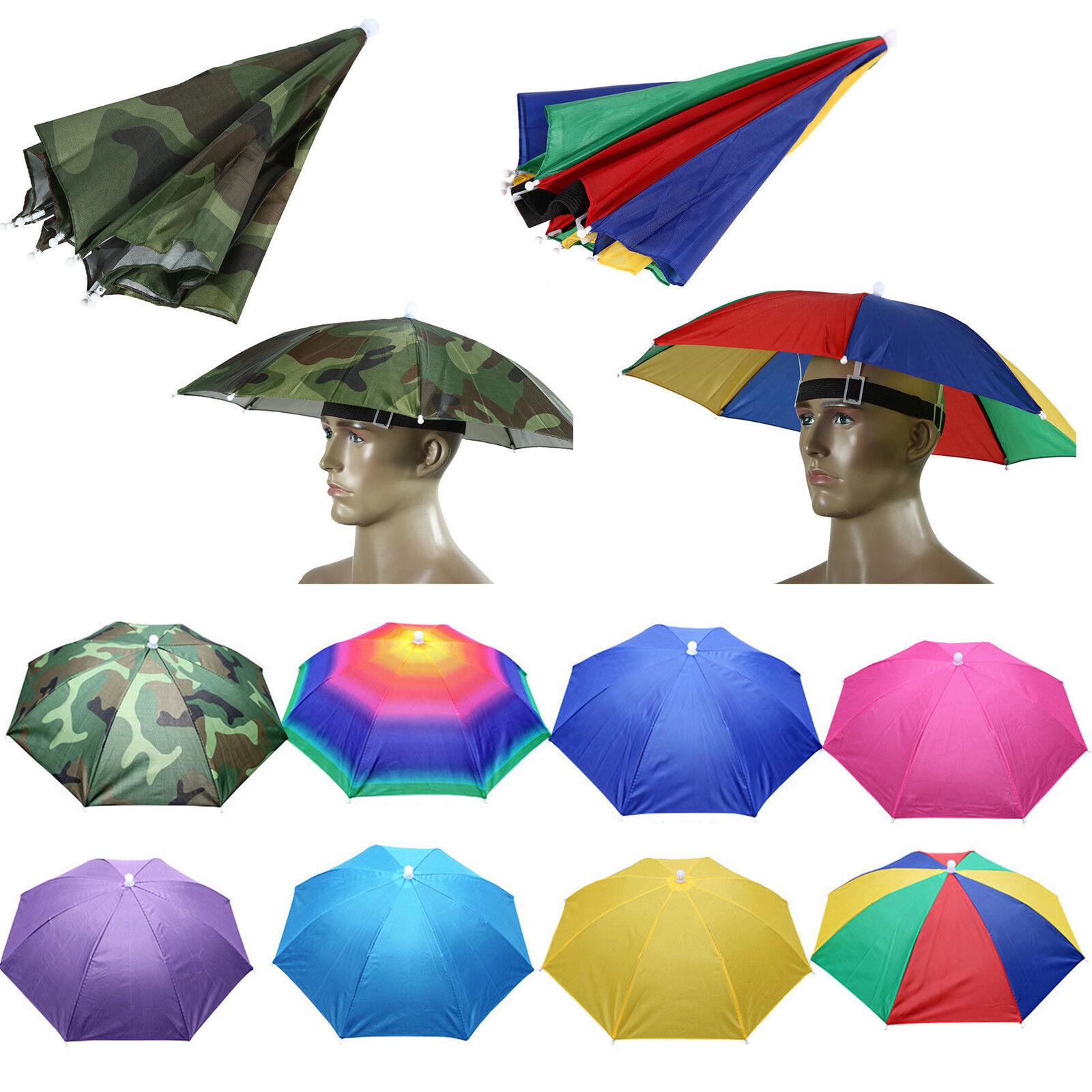 Mens Womens Rainbow Fishing Umbrella Hat Sun Rain Camping Headwear Foldable Cap