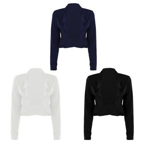 Womens-Long-Sleeve-Ruffles-Cropped-Cardigan-Bolero-Shrug-Casual-Coat-Top-Jacket