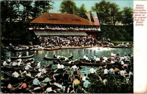 1907-BOSTON-ATHLETIC-ASSOC-BOAT-HOUSE-WATER-SPORTS-MASS-POSTCARD-KK1