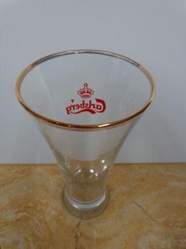 DENMARK Gold Rim Lager Beer Glass ~ CARLSBERG Brewery /& Crown Logo ~ Copenhagen