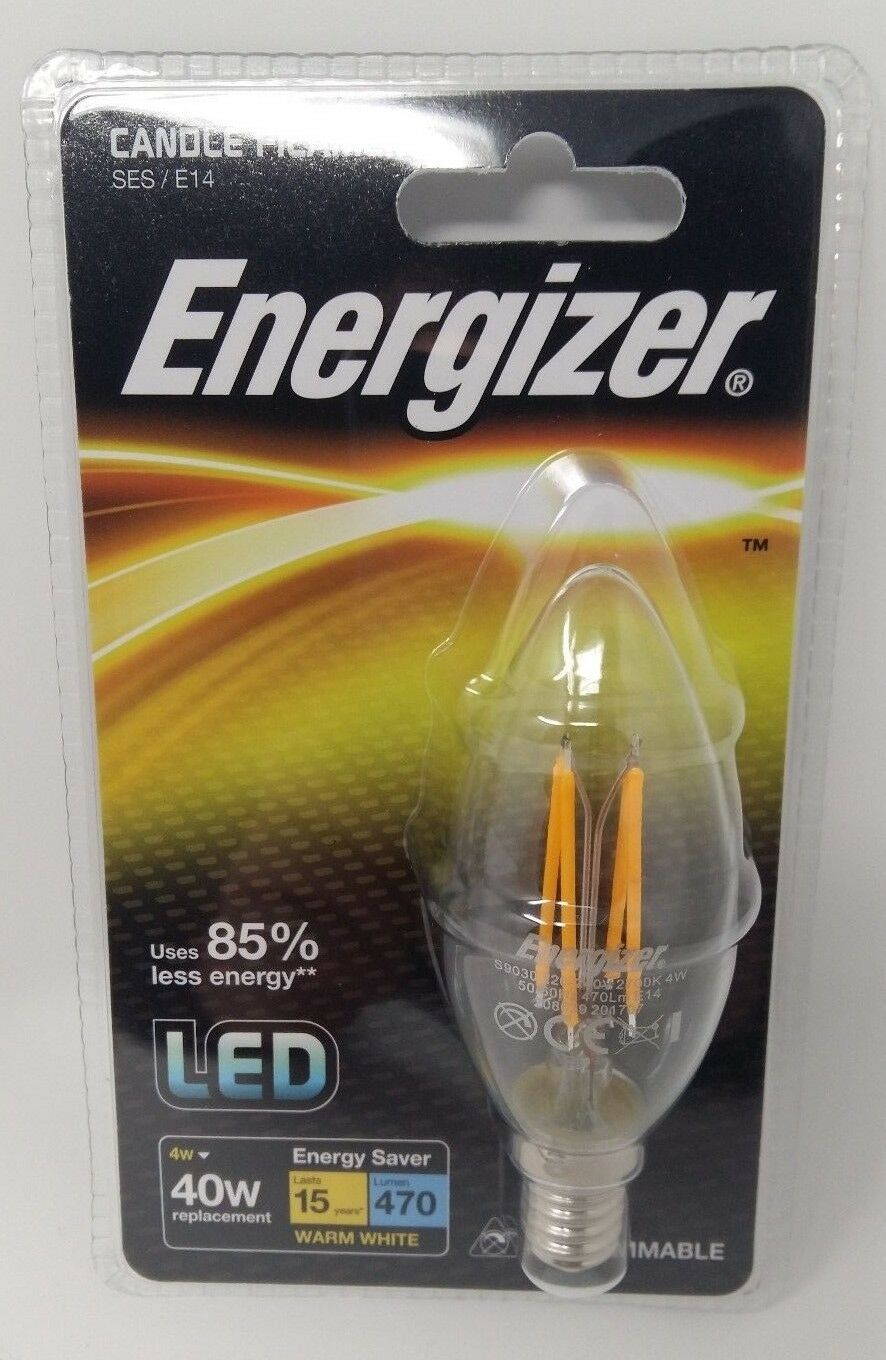 16 x 4w = 40w LED Energizer Filament Candle Light Bulb Lamp SES Small Screw E14
