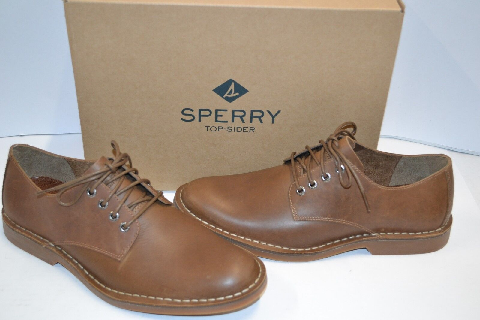 Sperry Top-Sider Harbor OXFORD PLAIN TOE Mens LEATHER TAN SHOE MEMORY FOAM 9.5 M