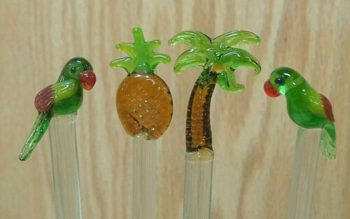 Details about  /Set of 4 glass swizzle sticks Tropical palm pineapple parrots handmade stirrers