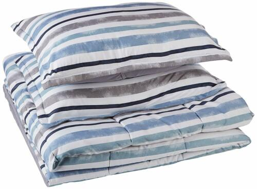 Twin XL Full Queen King Navy Blue White Gray Striped 3 pc Comforter Set Bedding