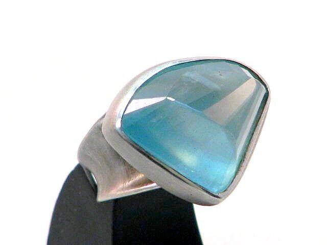 Edle Designer Aquamarin Ring silver 925 silverschmiede Wien Vienna um 1950