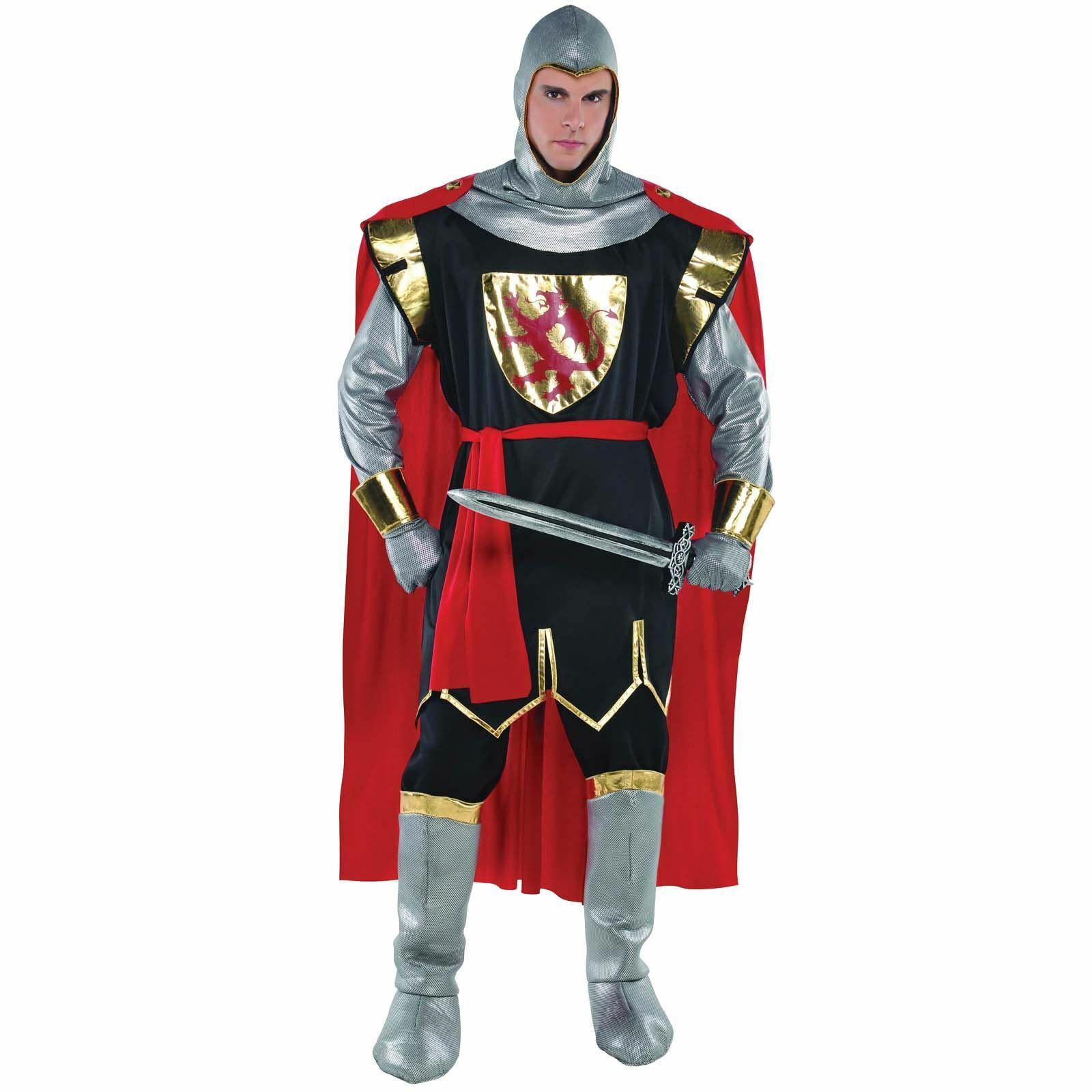 Deluxe Brave Crusader Knight Medieval Fancy Dress Men's Costume Adult Outfit