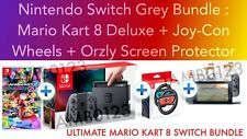 Nintendo Switch Console Grey + MARIO KART 8 + Joy-Con Wheels + Protector *BUNDLE