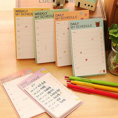10Pcs Cute Cartoon Plan Schedule Check Stick Bookmark Pads Sticky Notes
