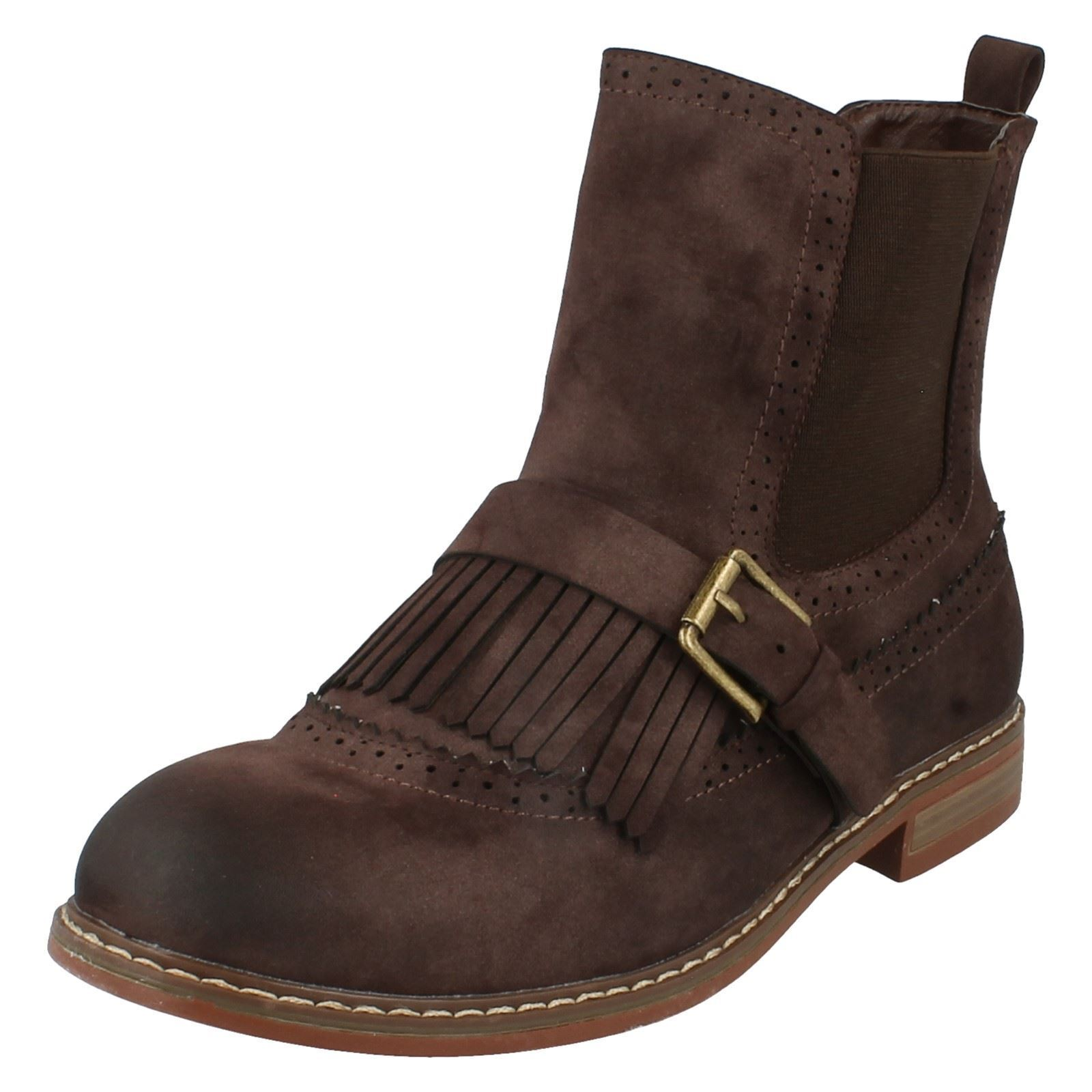 Down To Earth F50568 Ladies Brown Synthetic Casual Ankle Boots