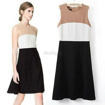 Elegant Office Lady Women Formal Business Work Party Sheath Sleeveless Dress D48
