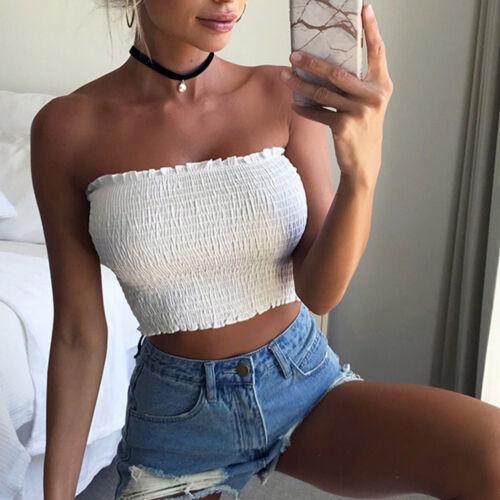 Summer Women Ladies Bardot Off Shoulder Sheer Boob Tube Gather Bandeau Crop Top
