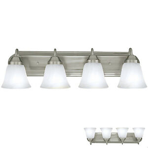 Brushed nickel four globe bathroom vanity light bar bath - 8 light bathroom fixture brushed nickel ...