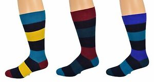 Sierra-Socks-Men-039-s-Dress-3-Pair-Pack-Cotton-Rugby-Stripe-Pattern-Socks-M8050U