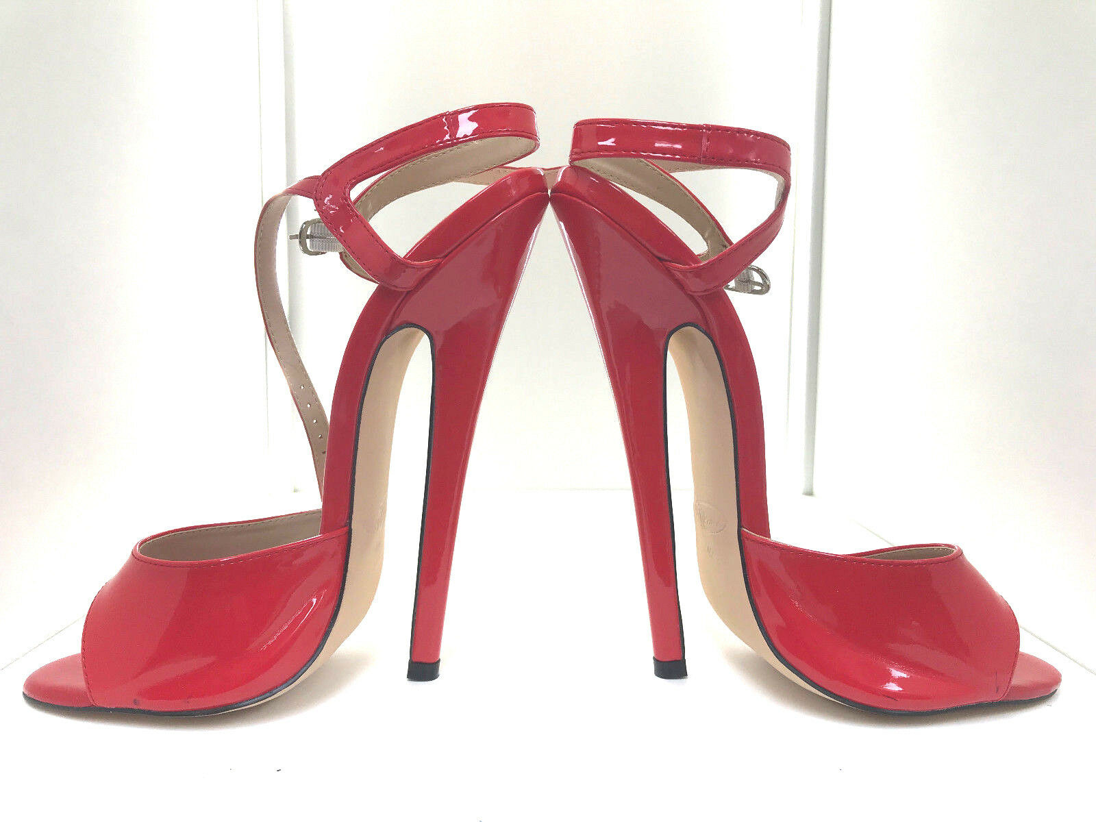 Sexy 7  bedheels rot rot rot patent SM BDSM mules sandals 42 43 19cm high heels straps 5c58a1