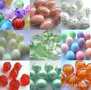 Focal-amp-Bubblegum-Beads-Chunky-Jewellery-Making-You-Pick-Shape-Colour-Size