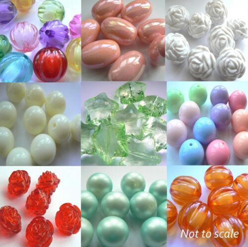 Focal /& Bubblegum Beads Chunky Jewellery Making You Pick Shape Colour Size