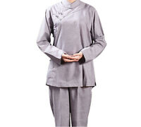 Womens Shaolin Monk Clothes Lay Buddhists Meditation Uniforms Temple Monk Robes