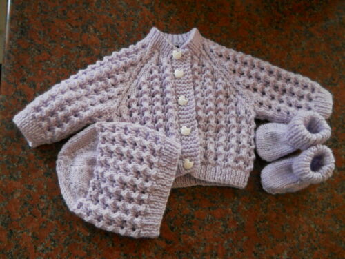 Baby Hand Knitted 3 pièce ensembles