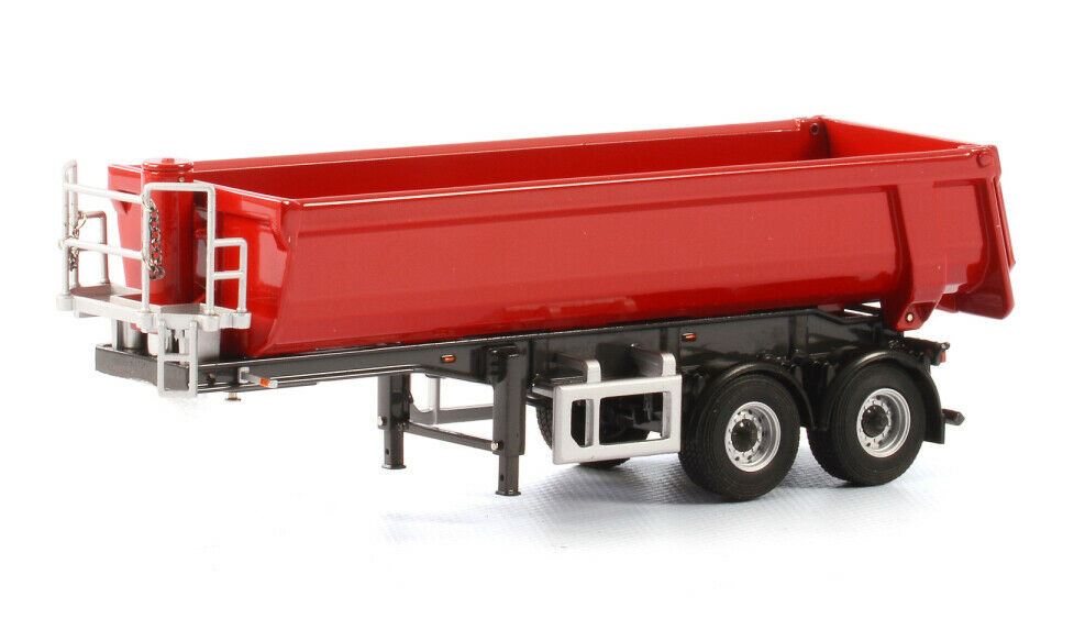 Half-pipe 2 essieux Benne Dump Trailer  Rouge 1 50 moulé sous pression par WSI Models 04-1154  livraison directe et rapide