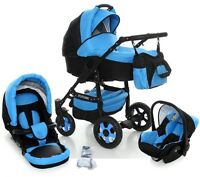 3in1 Pram Buggy Stroller Car Seat Baby Travel System Black Chassis - 9 Colours