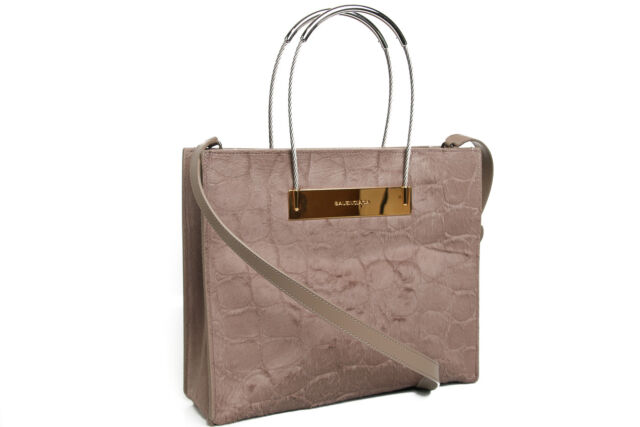New 2675 Balenciaga Cable Per Small Embossed Calf Hair Tote 371177 Beige