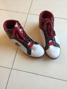 e6f73ef9e Image is loading LACOSTE-Courtiser-Mens-White-Red-Black-High-Top-