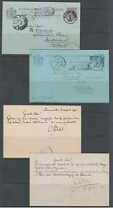 NETHERLANDS SURINAM 1901-02 PS CARDS H&G 8 & 12a ENTIRES USED PER DUTCH PACKET