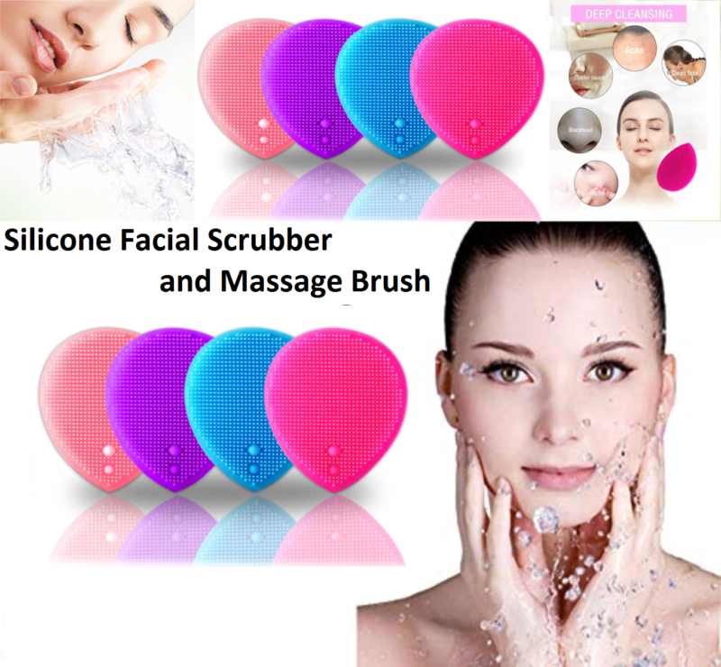 Silicone Face Scrubbers Baby Bath Silicone Cradle Cap Brush Facial Cleansing Brush Cleansing Pad Soft Massage Brush for Baby Blue 3Pcs