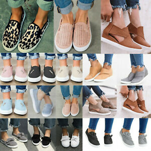Women-Casual-Canvas-Shoes-Plimsolls-Flats-Slip-On-Loafers-Pumps-Comfy-Sneakers