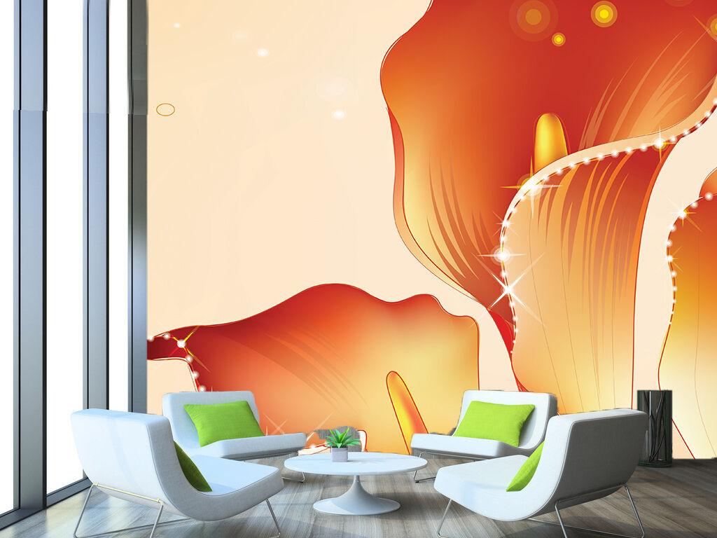 3D Leuchtende Orange blüten 0 Fototapeten Wandbild Fototapete BildTapete Familie