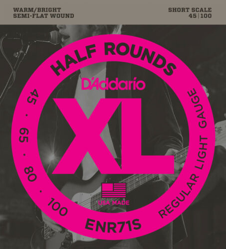 D/'ADDARIO ENR71S HALF ROUND BASS STRINGS SHORT SCALE LIGHT GAUGE 4/'s 45-100