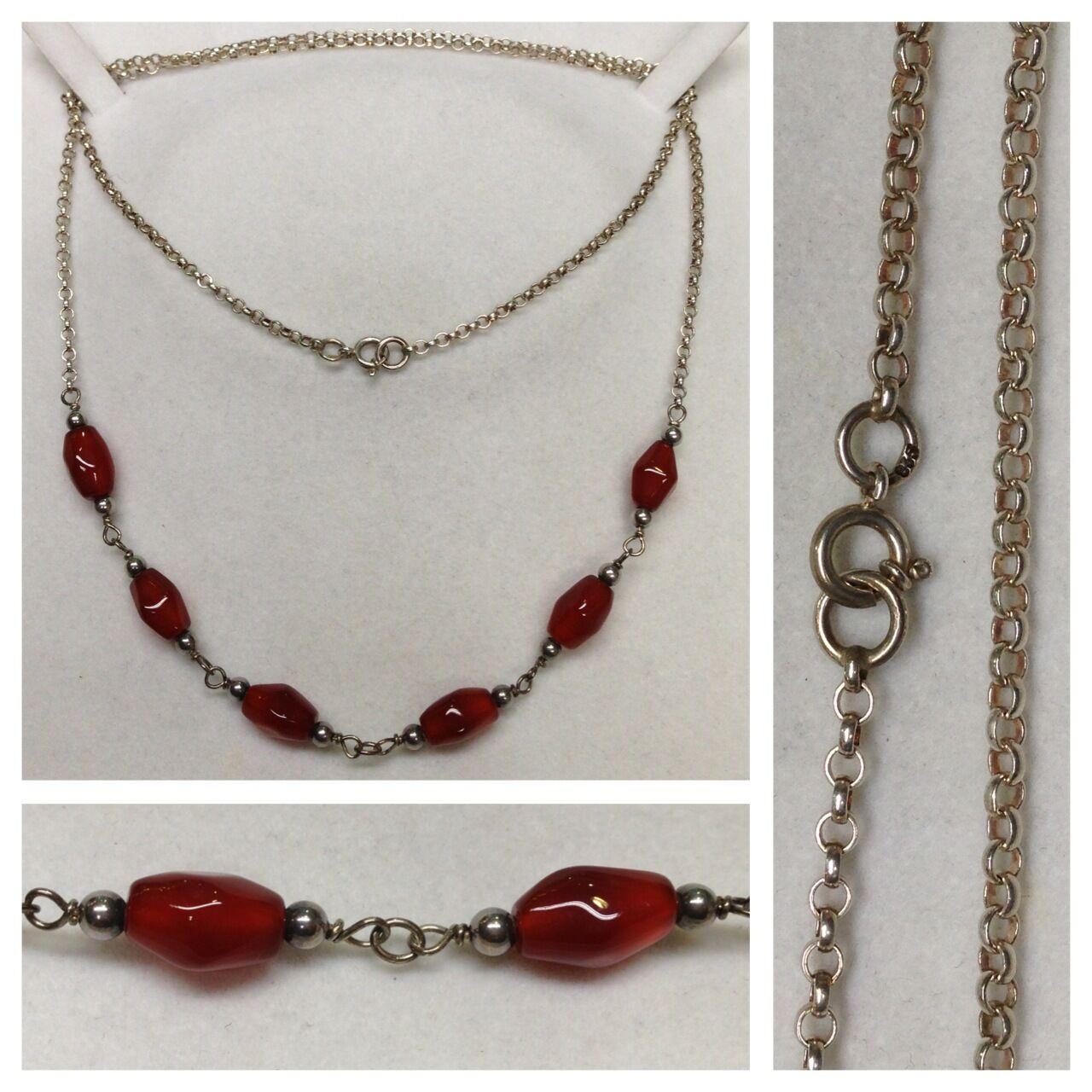 COLLANA LUNGA 835 silver con pietre di color Collier in accessori