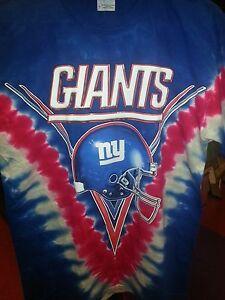 NEW YORK GIANTS Tie Dye V Dye T-Shirt NFL Front and back print  ae0f4704181