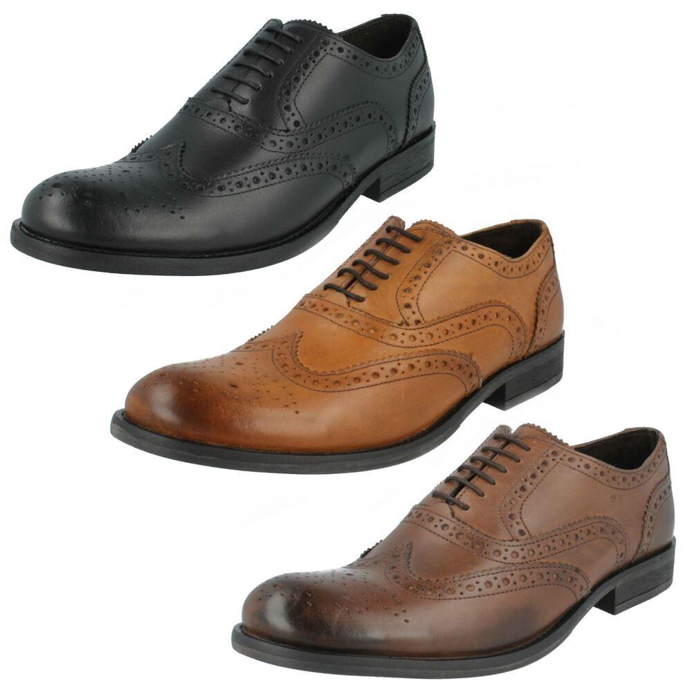 Base London Pour Homme En Cuir Cireux Lace Up Chaussures Noyer Mto