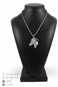 Italian-Greyhound-silver-plated-pendant-with-silver-cord-Art-Dog-IE