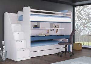Das Bild Wird Geladen Etagenbett Smart Oxford Mit Schreibtisch  Und Zusatzbett Gaestebett