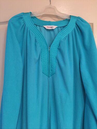 Vintage 50s Shadowline Blue Half Zip Velour Robe L
