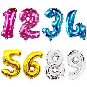 40-6cm-Lindo-Plata-Numeros-Letras-Globos-de-Papel-Aluminio-Decoracion-Cumpleanos