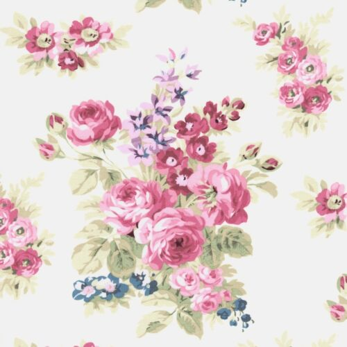 Anne of Green Gables Rose Flower Cluster on Ivory Cream Cotton Fabric FQ