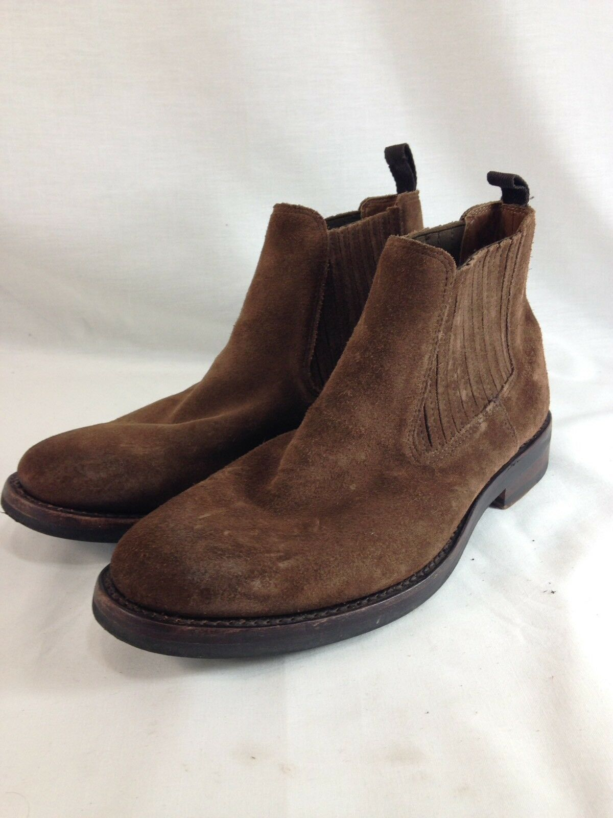 LL Bean Signature Chelsea shoes Ankle Boots Chukka Mens 10.5 Brown Leather Suede