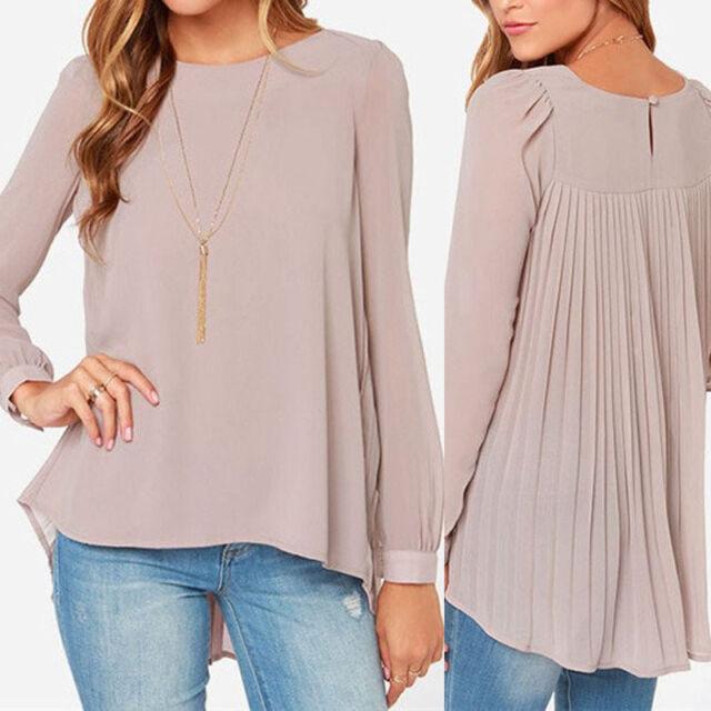 New Lady's Chiffon Loose Chiffon Tops Long Sleeve Shirt Casual Blouse Size 6-16