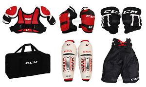 CCM-Ice-Hockey-Shoulder-Shin-Elbow-Pads-amp-Bag-Starter-Kit-Youth